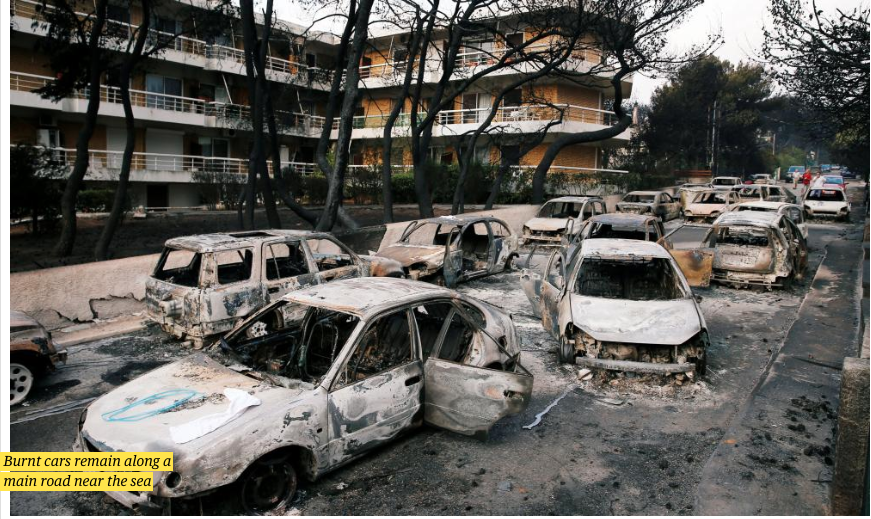 Burnt Cars from Greece's July 2018 Firestorm - Climate Change